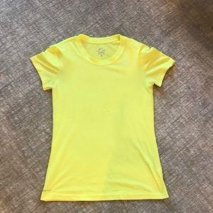 Yellow dri-fit Nike t-shirt.